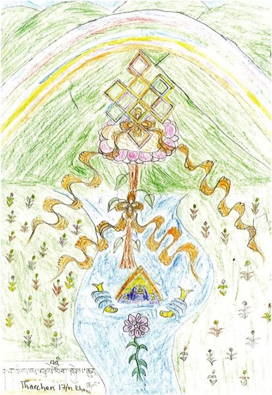 Ansichtkaarten tekeningen Tibetaanse vluchtelingenkinderen